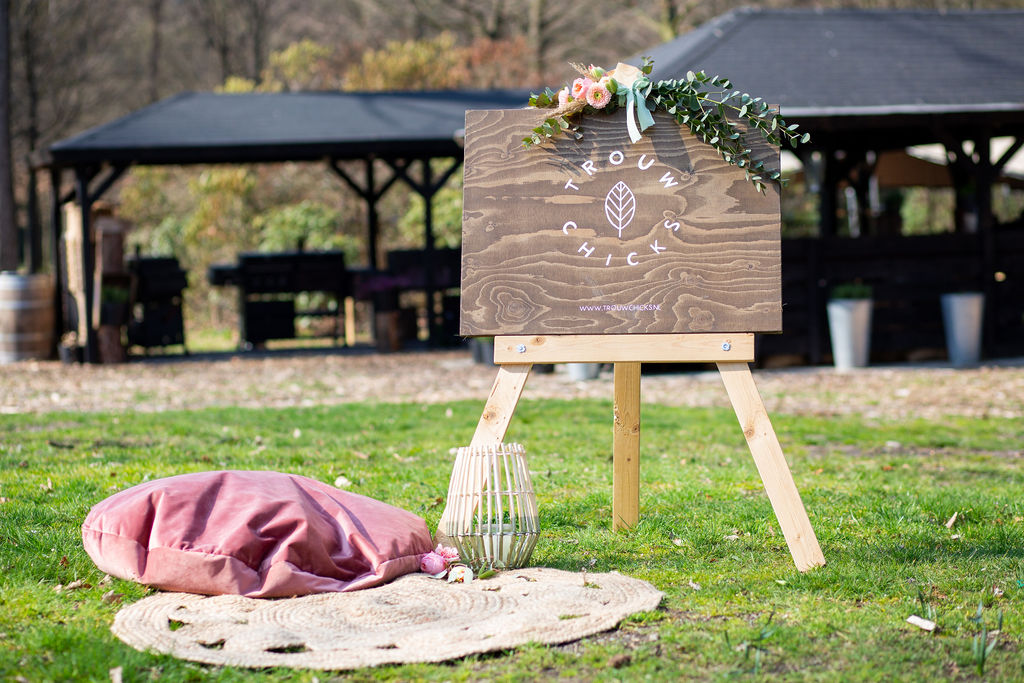 houten bord bruiloft